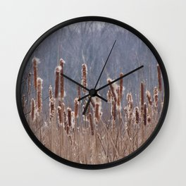 Cattails in Summer Wall Clock