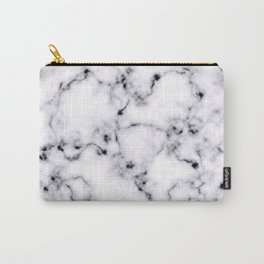 Modern Black White Designer Marble Pattern Carry-All Pouch