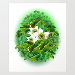 Passion Flowers on Tropical Jungle Art Print