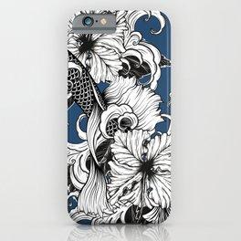Blue Floral Koi Pattern iPhone Case