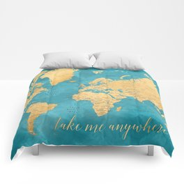 Take me anywhere world map -PRINTS IN SIZES L & XL ONLY Comforters