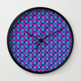 Tiled pattern of dark blue rhombuses and purple triangles in a zigzag and pyramid. Wall Clock