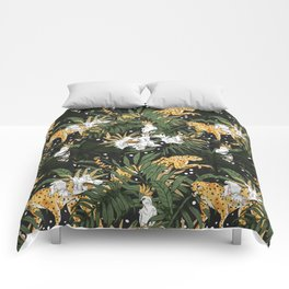 Animals in the glamorous nocturnal jungle Comforters