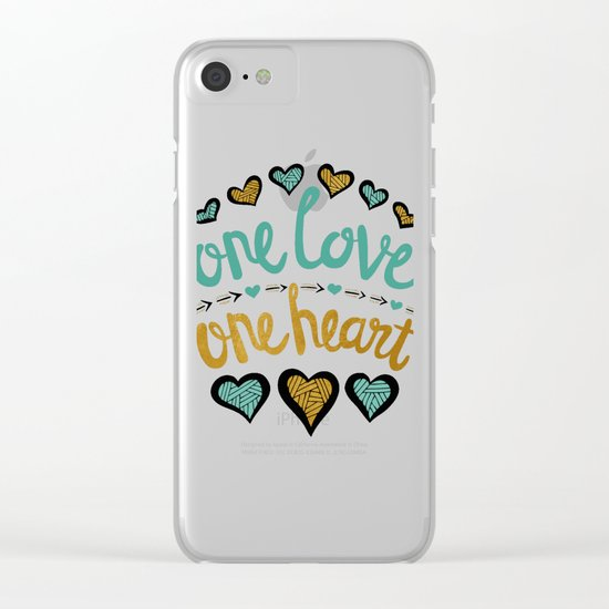 One Love One Heart Clear iPhone Case
