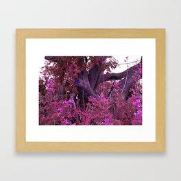 Pink red alien planet tree bright Framed Art Print