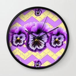 Lilac Purple-Yellow Pansy Geometric Desigmn Wall Clock