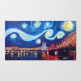Starry Night in Cologne - Van Gogh Inspirations on River Rhine and Cathedral Canvas Print
