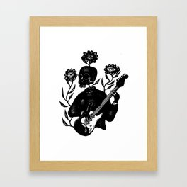 Skeleton Lady Plays the Blues Framed Art Print