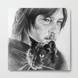 Norman and Eye In The Dark Metal Print