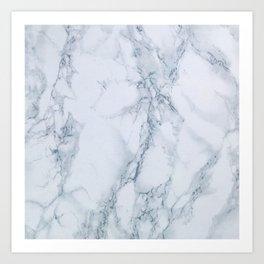 Elegant Creamy White Marble with Light Blue Veins Art Print