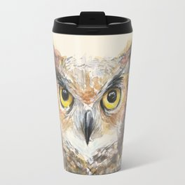 Great Horned Owl Watercolor Travel Mug