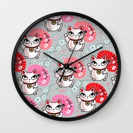 Kyoto Kitty on Grey Wall Clock