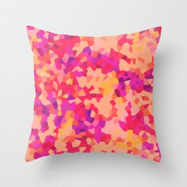 Coral Crystal Camouflage Pattern Throw Pillow