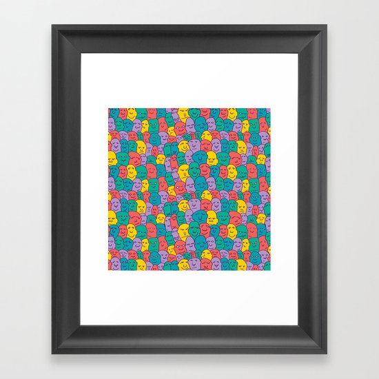 FACES OVER AND OVER Framed Art Print
