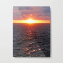 Sunset on Ocean Metal Print