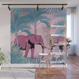 Pink Elephants Jungle Walk Wall Mural