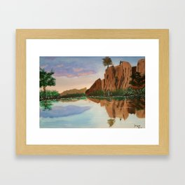 Cliffside Reflections Framed Art Print