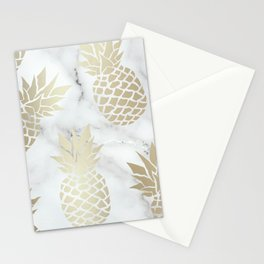 Tropical Pineapple, Marble and Gold Abstract Pattern Stationery Cards