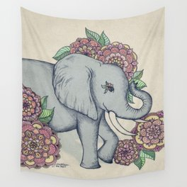 Little Elephant in soft vintage pastels Wall Tapestry