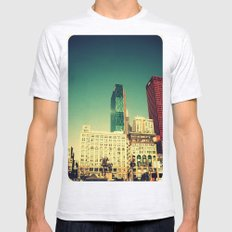 Chicago Retro Skyline ~ architecture Mens Fitted Tee Ash Grey SMALL