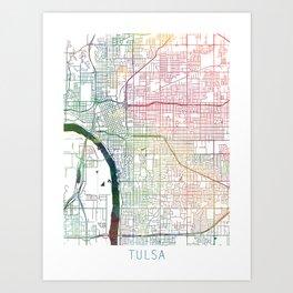 Tulsa Map Watercolor by Zouzounio Art Art Print