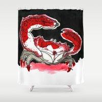 crab Shower Curtains featuring Crab by Lieke Mulder