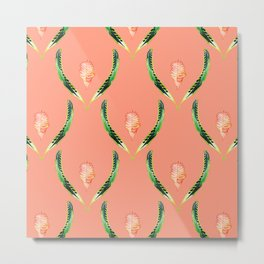 Heliconia Blossom Coral  #tropical Metal Print