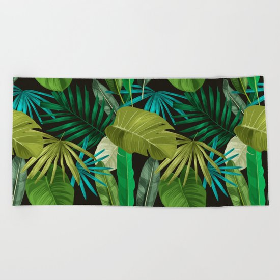 Tropical Leaf Pattern Beach Towel