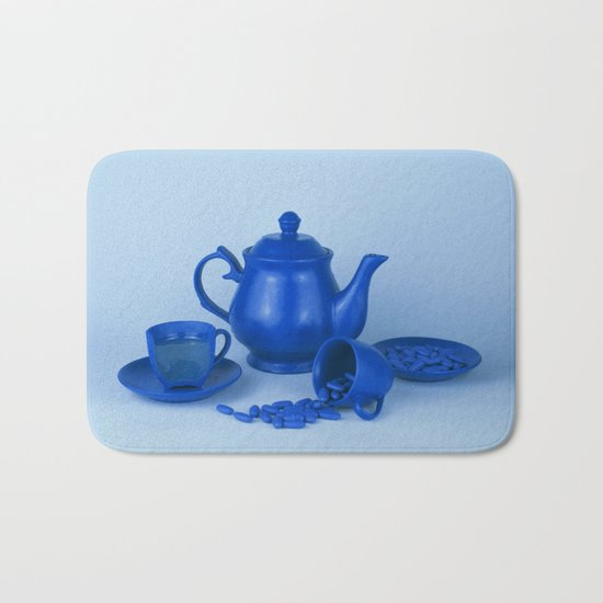 Blue tea party madness - still life Bath Mat