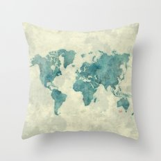 World Map Blue Vintage Throw Pillow