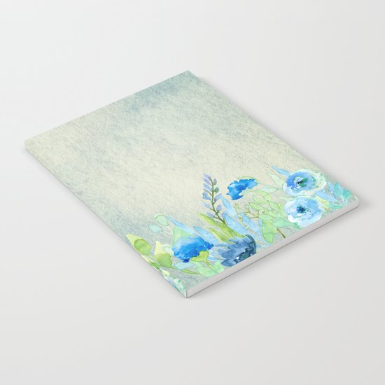 Blue flowers in a meadow- Floral watercolor illustration Notebook