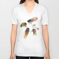 floral V-neck T-shirts featuring summer cicadas by Teagan White