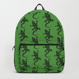 Green Gecko Pattern Backpack