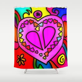 Colorful Modern Love Shower Curtain