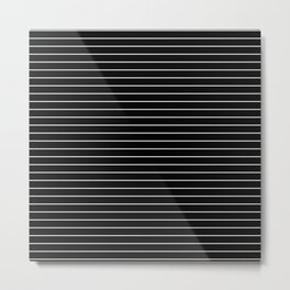 Thin White Lines - Blakc and white stripes Metal Print