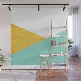 Gold & Aqua Blue Geometry Wall Mural