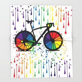 Rainbow raindrops Throw Blanket