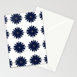 Navy and Orange Flowers Stationery Cards