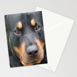 Beautiful Female Rottweiler Portrait Vector Stationery Cards