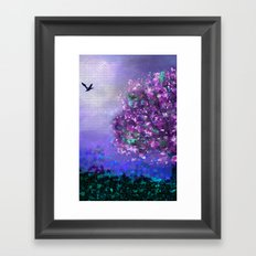 Autumn Tree in Blue and Purple Framed Art Print