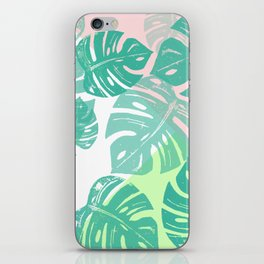 Linocut Monstera Tricolori iPhone Skin