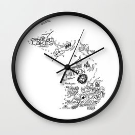 Michigan Hand Drawn Type and Illustrations Wall Clock