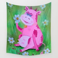 cow Wall Tapestries featuring Cow by OLHADARCHUK
