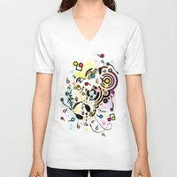 headphones V-neck T-shirts featuring Headphones by AURA-HYSTERICA