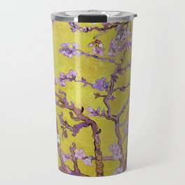 "Vincent van Gogh ""Almond Blossoms"" (edited gold) Travel Mug"