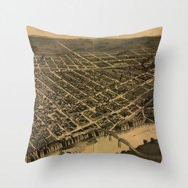 Vintage Pictorial Map of Selma Alabama (1887) Throw Pillow