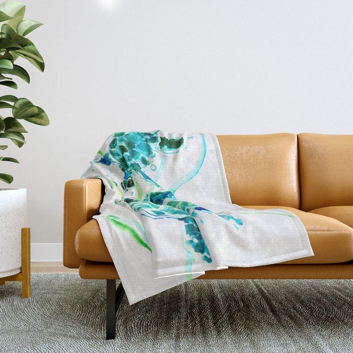 Sea Turtles, Turquoise blue Design Throw Blanket