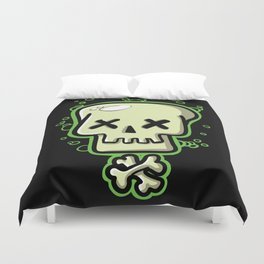Toxic skull and crossbones green Duvet Cover