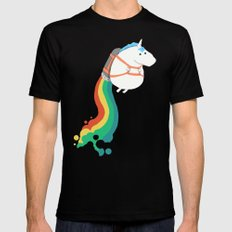 Fat Unicorn on Rainbow Jetpack Black Mens Fitted Tee LARGE