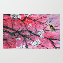 Finch Amongst the Cherry Blossoms Rug